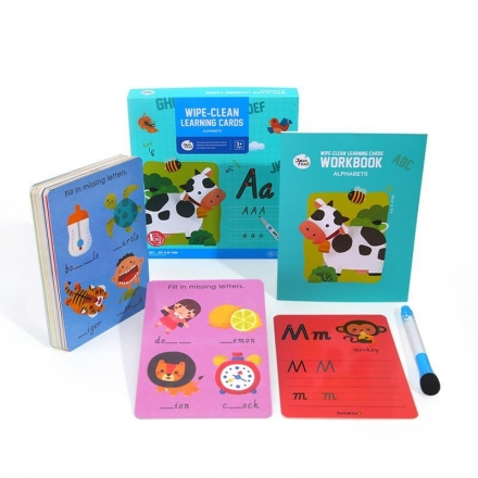 Joan Miro Wipe Clean Reusable Leaning Cards with Wipe Clean Marker - Alphabets