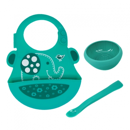 Marcus & Marcus First Baby Feeding Set 6m+ (Bib with 2-in-1 Masher Spoon & Bowl Set)