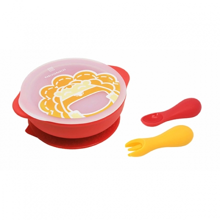 Marcus & Marcus Toddler First Self Feeding Set 12M+ (Suction Bowl with Lid, Palm Grasp Spoon & Fork)