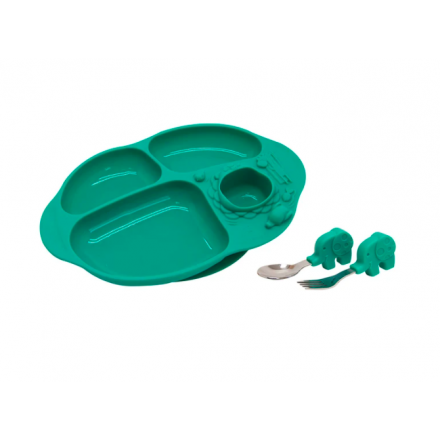 Marcus & Marcus Toddler Dining Set BLW Preferred 18m+ (Suction Divided Plate with Training Spoon & Fork)