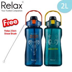 RELAX TRITAN WATER BOTTLE WITH STRAW (2000ml)