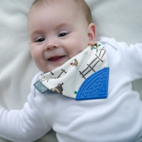 Cheeky Chompers Neckerchew 2 in 1 Baby Bib with Teether - Farmer Joules