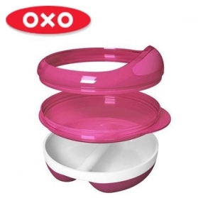 OXO TOT Divided Feeding Dish with Removable Ring & Lid - Pink