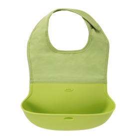 OXO TOT Waterproof Silicone Roll Up Bib with Comfort-Fit Fabric Neck - GREEN