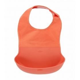 OXO TOT Waterproof Silicone Roll Up Bib with Comfort-Fit Fabric Neck - ORANGE
