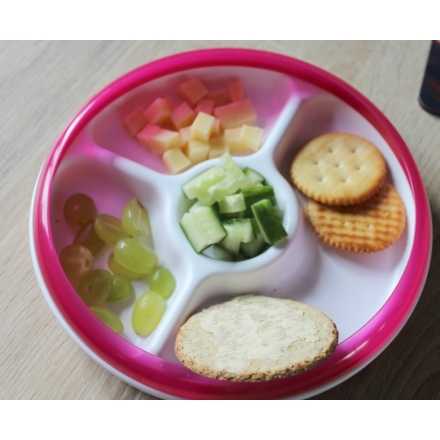 OXO TOT Divided Plate With Removable Ring - Pink
