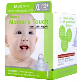 SIMBA Mother's Touch Anti-Colic Nipple - [WIDE NECK] Cross Hole (XL)