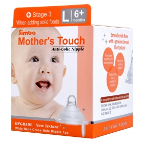 SIMBA Mother's Touch Anti-Colic Nipple - [WIDE NECK] Cross Hole (L)