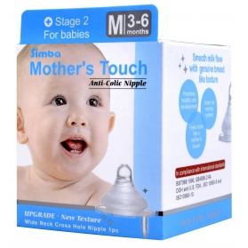 SIMBA Mother's Touch Anti-Colic Nipple - [WIDE NECK] Cross Hole (M)
