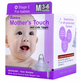 SIMBA Mother's Touch Anti-Colic Nipple - [WIDE NECK] Round Hole (M)