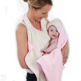 Cuddledry Baby Apron Bath Towel Soft Pink