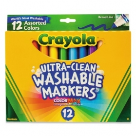 CRAYOLA Ultra-Clean Washable Broad Line Markers - 12ct