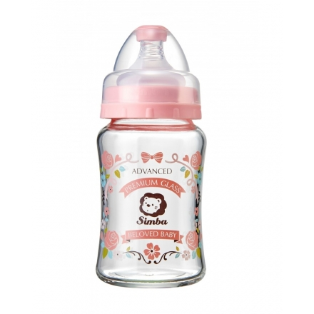 SIMBA Crystal Romance Wide Neck Glass Bottle [Rose Pink] - 180ml/6oz