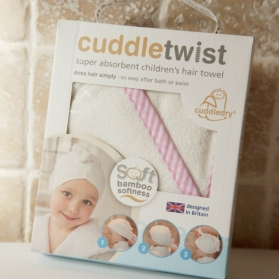 Cuddletwist Hair Towel - Pink Candy Stripe Edge