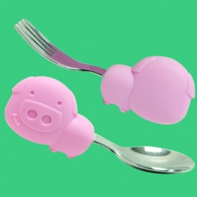 Marcus & Marcus Palm Grasp Spoon & Fork Set - Pink Pokey