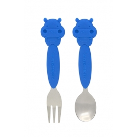 Marcus & Marcus Toddler Spoon & Fork Set - Blue Lucas