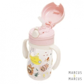 Marcus & Marcus Tritan Straw Bottle 350ml - Pink Pokey
