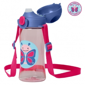 Skip Hop Zoo Lock-Top Sports Bottles (414ml/14oz) - Butterfly