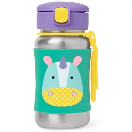 SKIP HOP Zoo Stainless Straw Bottle - Unicorn