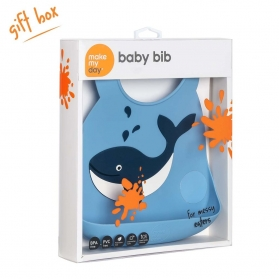 Make My Day Silicone Baby Bib - Whale Make A Splash