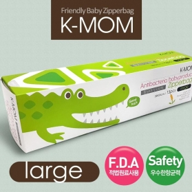 KMOM Anti-Bacterial Friendly Baby Product Zipper Bag [Large: 28x24cm] Crocodile