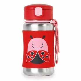SKIP HOP Zoo Stainless Steel Straw Bottle - Ladybug (350ml/12oz)