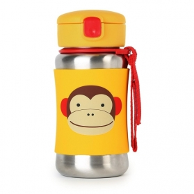 SKIP HOP Zoo Stainless Steel Straw Bottle - Monkey (350ml/12oz)