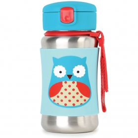 SKIP HOP Zoo Stainless Steel Straw Bottle - Owl (350ml/12oz)