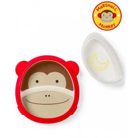 SKIP HOP Zoo Eat Neat Sectional Plate & Bowl - Monkey
