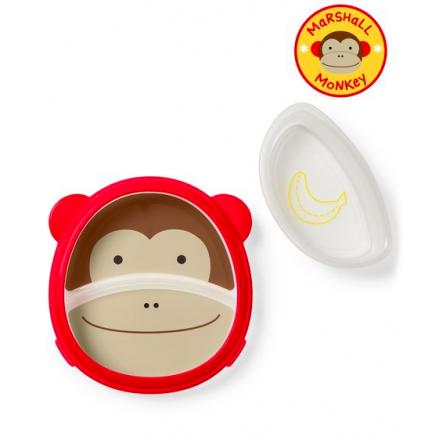 SKIP HOP Zoo Eat Neat Sectional Plate & Bowl - Monkey