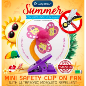 Lucky Baby Safety Clip On Fan With Ultrasonic Mosquito Repellent