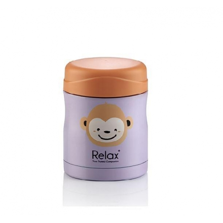 RELAX 300ML 18.8 STAINLESS STEEL THERMAL FOOD JAR with SPOON & FORK SET - MONKEY