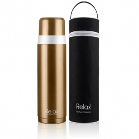 RELAX 500ML 18.8 STAINLESS STEEL SCREW CAP THERMAL FLASK WITH FREE POUCH