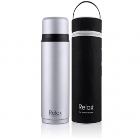 RELAX 750ML 18.8 STAINLESS STEEL SCREW CAP THERMAL FLASK WITH FREE POUCH