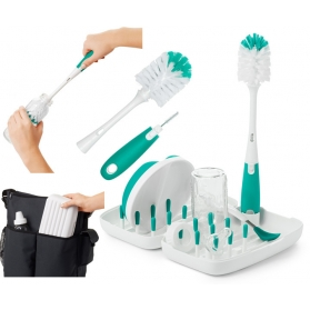 OXO Tot On-The-Go Drying Rack with Bottle Brush - Teal Blue