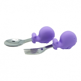 Marcus & Marcus Palm Grasp Spoon & Fork Set - Purple Wilo
