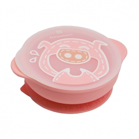 Marcus & Marcus Silicone Self Feeding Suction Bowl with Lid - Pink Pokey