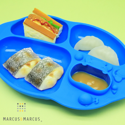 Marcus & Marcus Yummy Dips Suction Silicone Divided Plate - Blue Lucas
