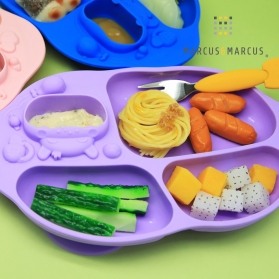 Marcus & Marcus Yummy Dips Suction Silicone Divided Plate - Purple Willo