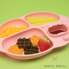 Marcus & Marcus Yummy Dips Suction Silicone Divided Plate - Pink Pokey