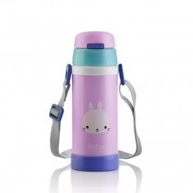 RELAX 360ML 18.8 STAINLESS STEEL KIDS THERMAL FLASK BOTTLE WITH STRAW - PINK BUNNY