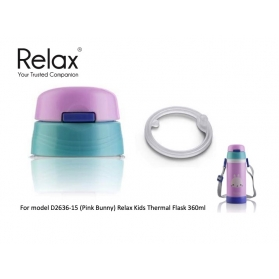 RELAX 360ML KIDS THERMAL FLASK BOTTLE [REPLACEMENT LID] - PINK BUNNY