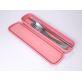 RELAX 4pcs FLATWARE SET - STAINLESS STEEL SPOON & FORK & STRAW & BRUSH  WITH STORAGE CASE - PINK