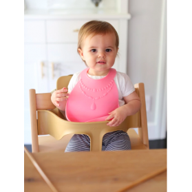 Make My Day Silicone Baby Bib - Pretty in Pink