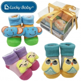 Lucky Baby First Soks™ Fold Up Socks With Rattle Sound in Gift Box