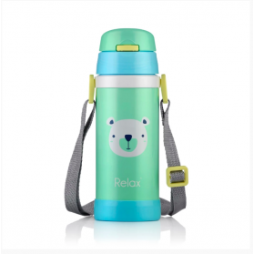 RELAX 360ML 18.8 STAINLESS STEEL KIDS THERMAL FLASK BOTTLE WITH STRAW - POLAR BEAR