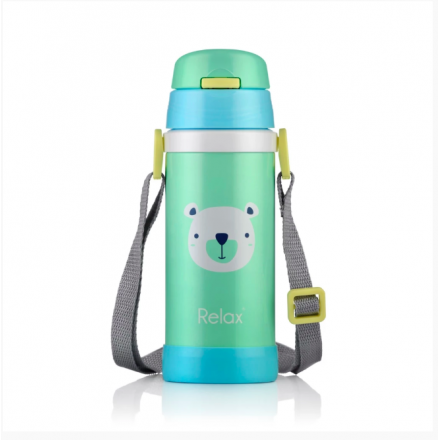 RELAX 360ML 18.8 STAINLESS STEEL KIDS THERMAL FLASK BOTTLE WITH STRAW - GREEN PANDA