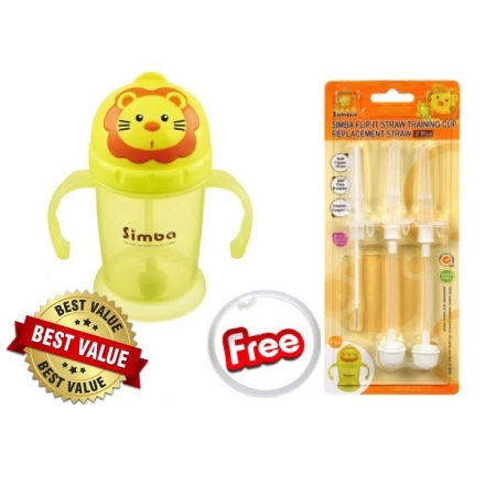 SIMBA Flip-It Straw Training Cup + Replacement Straw [FOC Anti-Leaking Silicone Ring Worth RM5]