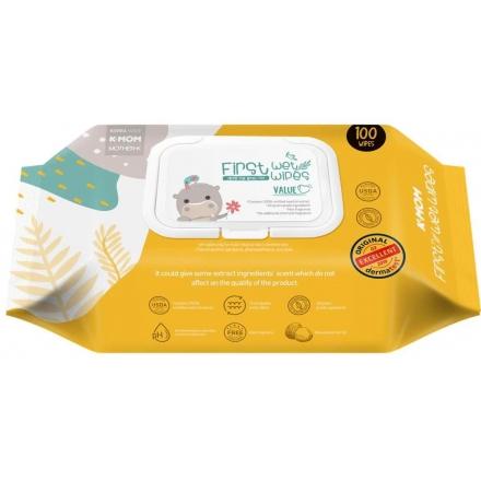 KMOM Organic Premium Baby First Wet Wipes Value 100 sheet/pack