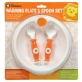 SIMBA Warming Suction Plate with Fork & Spoon Set (Come with Cover) - Orange